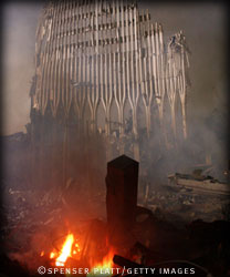 charred remains of the world trade center